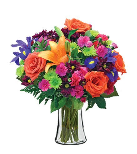 Vibrant Garden Orange Roses, Orange Lilies, Pink Mini Carnations, Purple Iris Bouquet, with a Glass Vase (Fresh Cut Flowers)