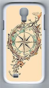 Galaxy S4 Case, Personalized Protective Hard PC White Edge Compass Case Cover for Samsung Galaxy S4