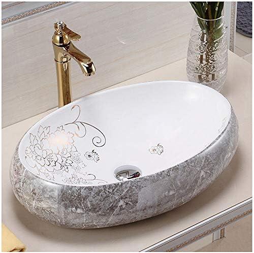 楕円形のセラミック容器のシンク、アート盆地のバスルームシンクの洗面台浴室の改造用の耐久性のあるバスルームシンク、480X330x140mm、セラミック、白
