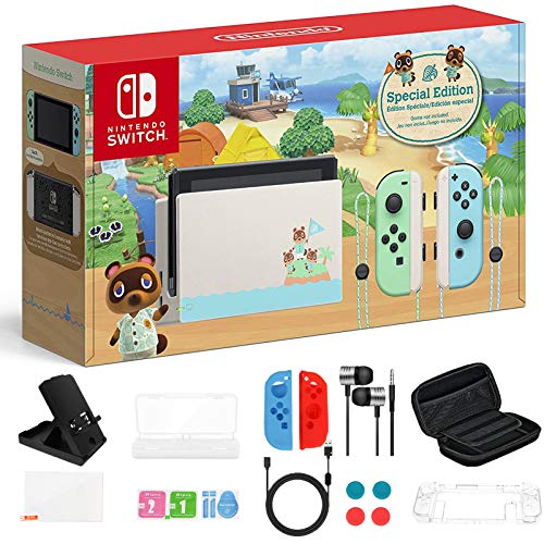"Newest Nintendo Switch 32GB Console, Animal Crossing New Horizons Edition, 6.2"" Touchscreen 1280x720 LCD Display, 802.11AC WiFi, Bluetooth 4.1, Bundled with TSBEAU 19 in 1 Carrying Case Accessories"