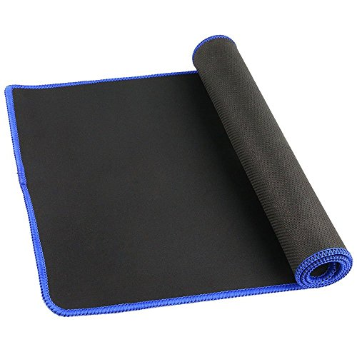 Cmhoo Large Gaming Mouse Pad Soft Rubber Bottom Keyboard Pad/Mouse Desk Pad Use for Laptop (23.611.80.1in, Blue Edge)