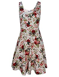 Tom's Ware Womens Casual Fit and Flare Floral Sleeveless Dress TWCWD054-WHITE-US S