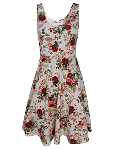TAM WARE Womens Casual Fit and Flare Floral Sleeveless Dress TWCWD054-WHITE-US M