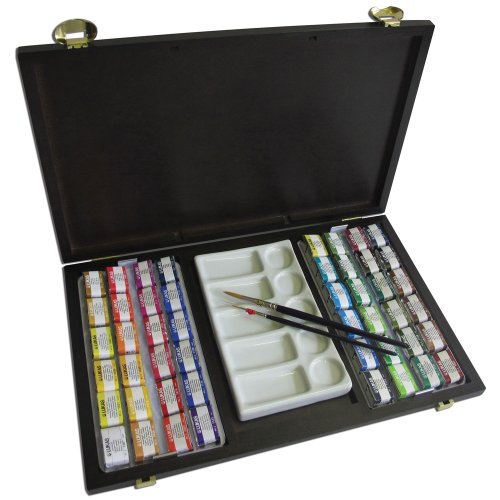 LUKAS Aquarell 1862 Watercolor 150th Anniversary Wood Box Set of 48 Pans by Lukas 1862