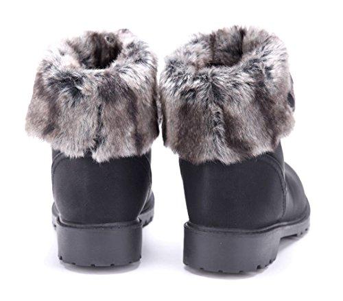 Schuhtempel24 Damen Schuhe Winterstiefeletten Stiefel Boots Blockabsatz Schlupf 3 cm Schwarz