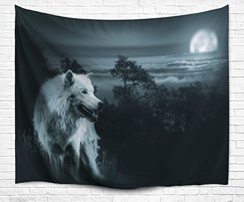 DENGYUE Wild Snow Wolf Tapestry Art, Forest Lonely Single Wh