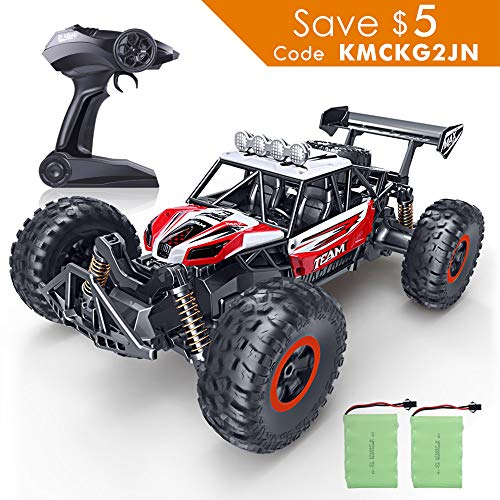 RC Car, SPESXFUN 2018 Newest 2.4 GHz High Speed Remote Control Car, 1/16 Scale Off Road RC Trucks with Two Rechargeable Batteries, Racing Toy Car for All Adults and Kids(Red)