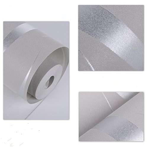 Fashine Modern Luxury Home Embossed Textured Roll Wallpaper Non-woven 3D Wave Wall Decoration (Silver) by Fashine (Image #4)