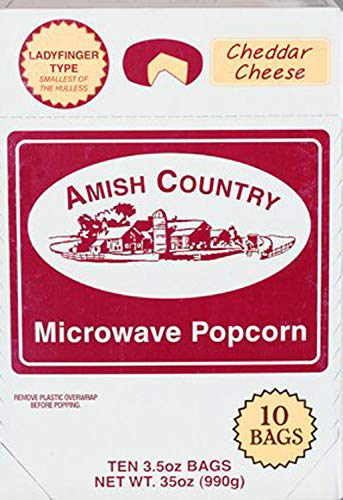 (Amish Country Popcorn - Cheddar Cheese Microwave (10 Bags) Ladyfinger Popcorn -Old Fashioned - All Natrual, Gluten Free, and Non GMO - with Recipe Guide)