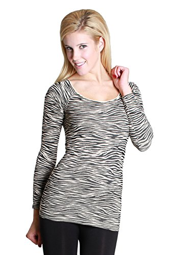 Zebra Print Shirts - Simply Savvy Co Petite Zebra Animal Print Crew Neck Long Sleeve Blouse Shirt Top For Women, Multi-color, One size