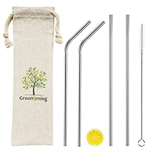 Long Reusable Metal Straws - 9 inch Straight & Bent Stainless Steel Straws Pack 4 with Straw Cleaning Brush, 6mm Diameter Width Straw, 5 in 1 Straw Pouch for Travel to Go