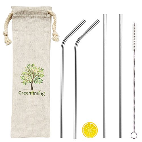 Long Reusable Metal Straw - 9 inch Straight & Bent Stainless Steel Straws Pack 4 with Straw Cleaning Brush, 6mm Diameter Width Straw, 5 in 1 Straw Pouch for Travel to Go - 12 Ounce Milk Chocolate
