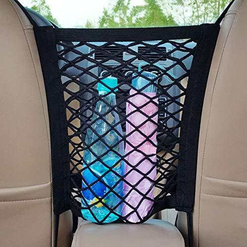 ningbao771 Car Universal Elastic Mesh Net Trunk Bag//Between Car Organizer Luggage Holder Pocket with 4 Plastic Hooks