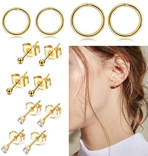 FIBO STEEL Stainless Steel Cartilage Earrings for Men Women Ball CZ Stud Earrings Helix Conch Daith Piercing Jewelry Set G