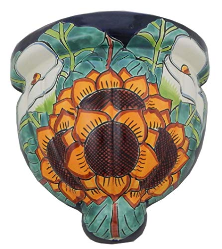 (Mexican Talavera Wall Planter Handmade Hand Painted Pottery Planter Wall Hanging Sconce Planter # 09)