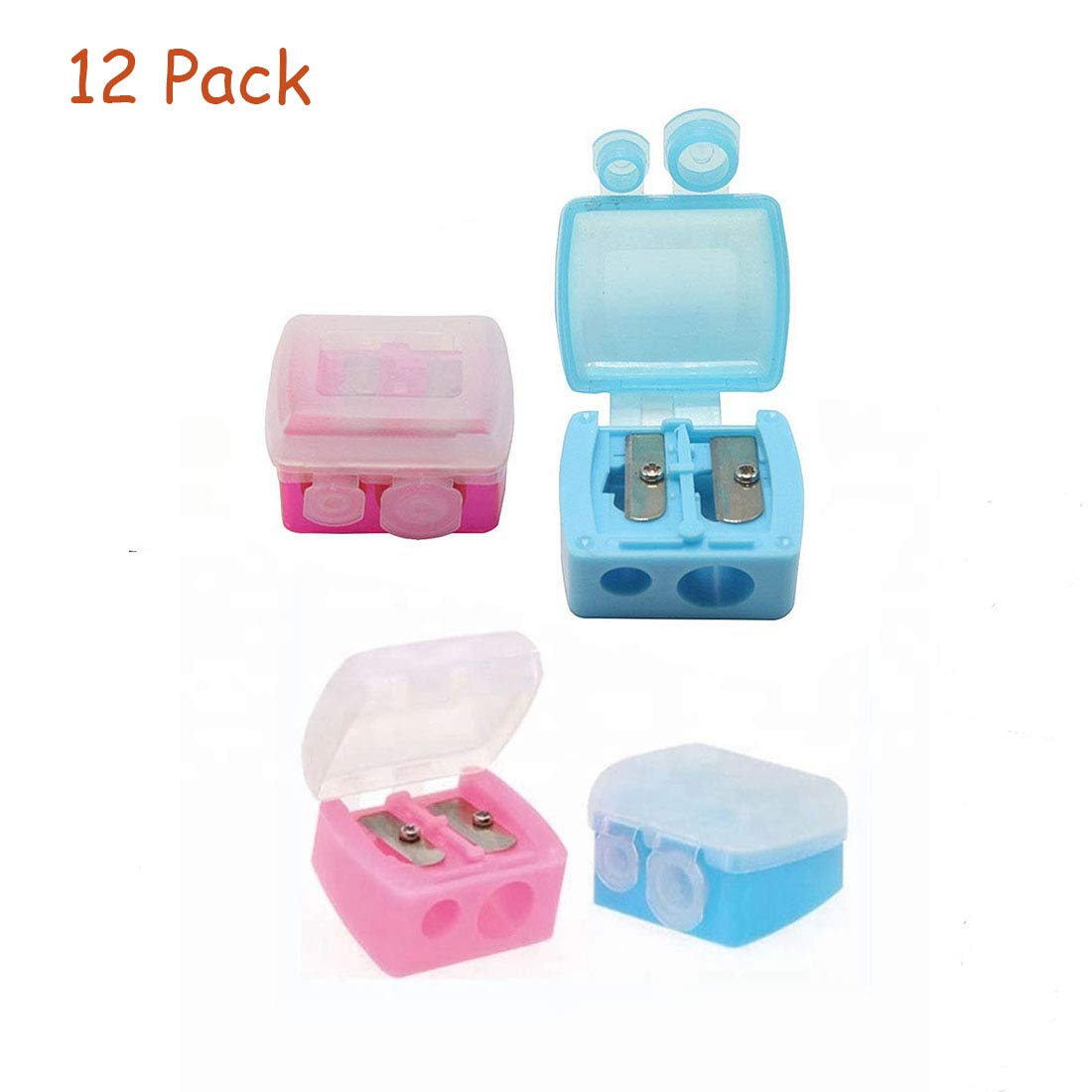12Pcs Dual Holes Makeup Pencil Sharpeners with Matte Cover for Eyebrow Pencil Cutter