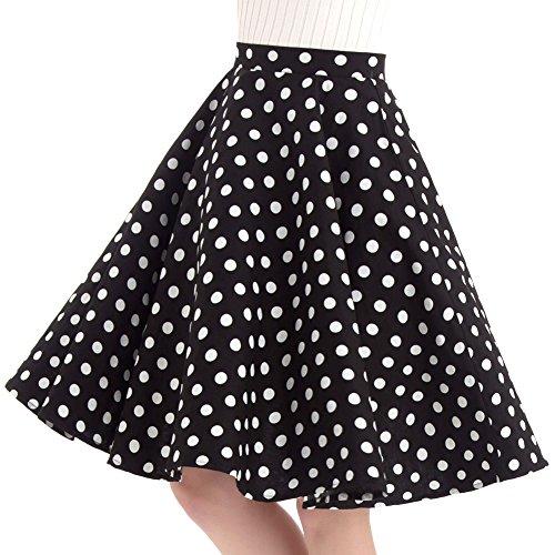 FiftiesChic 100% Cotton Polka Dot Floral 50s Vintage Retro Full Circle Skirt (M (US4-6), Black White Polka Dot) (Skirt Retro Womens)