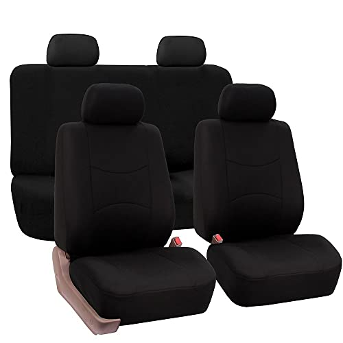 FH Group Universal Fit Full Set Flat Cloth Fabric Car Seat Cover Black