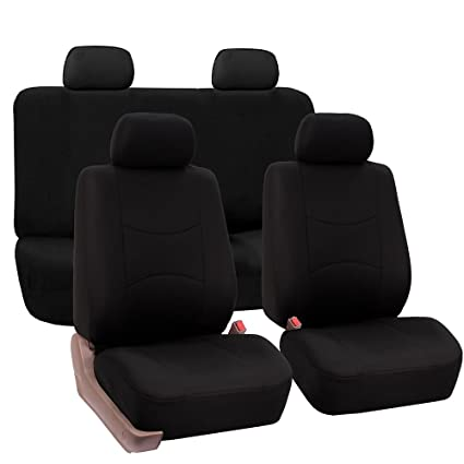 Fh Group Universal Fit Full Set Flat Cloth Fabric Car Seat Cover Black Fh Fb050114 Fit Most Car Truck Suv Or Van