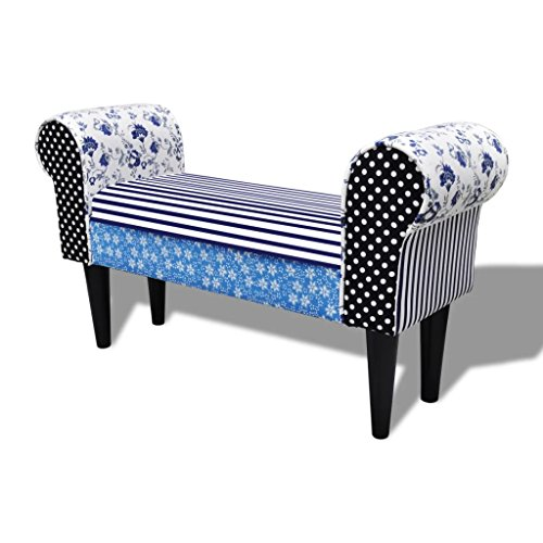 vidaXL Vintage Patchwork Wing Armed Sofa Bench Footrest Hallway Bench Fabric Upholstery