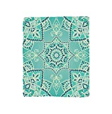 Kisscase Custom Blanket Turquoise Collection Arabic Islamic Persian Ottoman Motifs Turkish Iranian Ethnic Artsy Mandala Boho Style Bedroom Living Room Dorm Yellow Blue