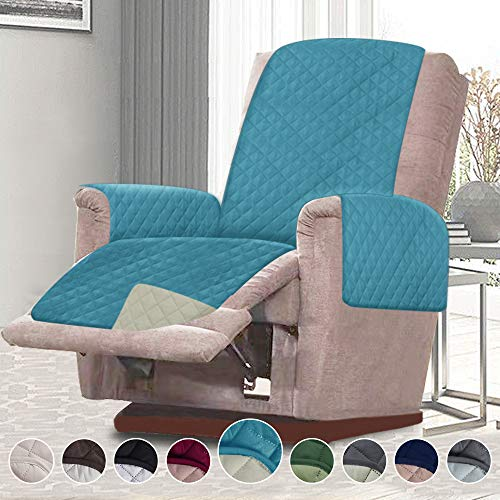 RHF Reversible Chair Cover, Chair Cover, Chair Cover for Dogs, Pet Cover for Chair, Chair Slipcover, Chair Protector, Machine Washable, Double Diamond Quilted(Recliner Chair: Seafoam/Cream)