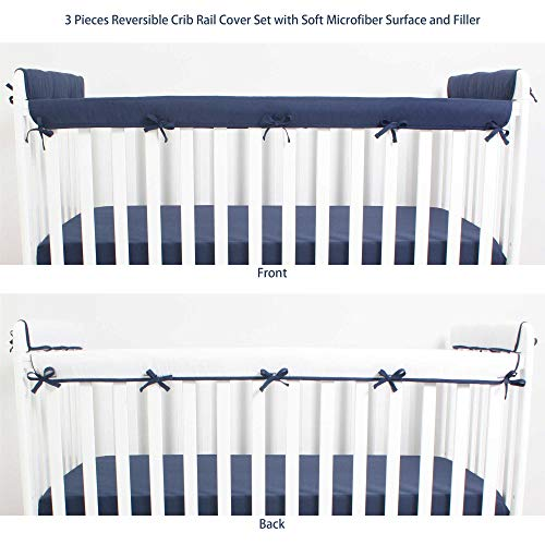 (CaSaJa 3 Pieces Soft Reversible Microfiber Crib Rail Cover Set for 1 Front Rail and 2 Side Rails, Safe Breathable Batting Inner for Baby Teething Guard, Navy/White, Fits Up to 8