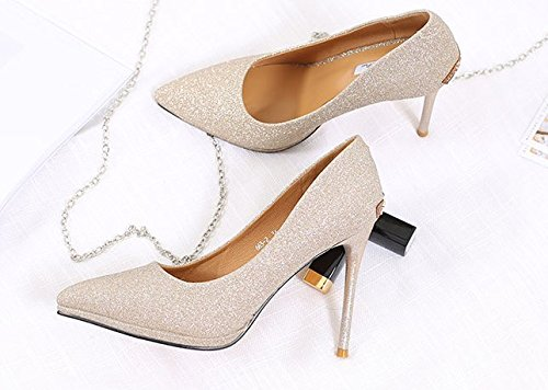 Fine Banquet Gold High Spring 37 Gradual Lady Work Leisure Head Heel MDRW Color 10Cm Sharp Sexy Shoes Shoes Single Shallow Heel Shades Shoes Elegant Crystal gOTqWC