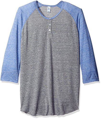 Alternative Men's Raglan 3/4 Sleeve Henley Shirt, Gre/Eco Pacific Blue, L
