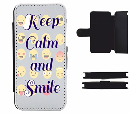 """Leder Flip Case Apple IPhone 5C """"Smileys mit and Smile Spruch"""", der wohl schönste Smartphone Schutz aller Zeiten."""