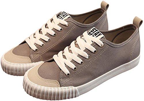 Chaussures De Toile De Satuki Pour Les Hommes, Lace Classique Décontracté Doux Sportif Léger Sport Baskets De Mode Plat Gris