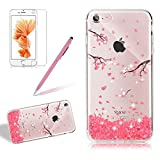 Bling Transparent Case For Iphone 6 6S, Girlyard Crystal Glitters Peach Flower Design Case Cover Ultra Clear Silicone Bling Protective Case Cover Shell Rhinestones Slim Fit Soft Back Case Cover