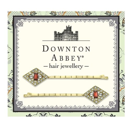 Downton Abbey® Ruby Red and Diamond-like Crystal Gold tone Hair Bobby Pin - Set Gifts Spaniel