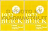 1972 BUICK REPAIR SHOP & SERVICE MANUAL - 1,484 PAGES, 2 VOLUME SET, INCLUDES Centurion, Electra 225, Electra 225 Custom, Estate Wagon, GS, GS 455, Gran Sport 455, LeSabre, LeSabre Custom, Riviera, Skylark, Skylark 350, Skylark Custom.