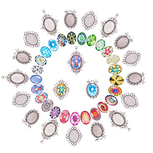 Oval Mosaic Tile - PH PandaHall DIY Jewelry Pendant Making, 30 PCS Mosaic Printed Glass Oval Cabochons with 30 PCS Tibetan Style Alloy Blank Pendant Frame Trays
