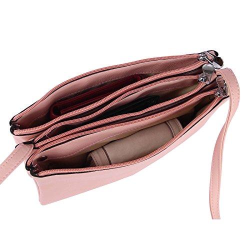 OBC DISEÑO ITALIANO Embrague Bolso bandolera bolsa de Dama Borsetta CROSSOVER Bolso de Bandolera Cartera Bolsa de joyas - Negro 19x25x8 cm, CA 19x25x8 cm (BxHxT ) Rosa