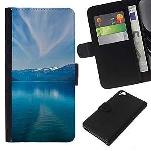 NEECELL GIFT forCITY // Billetera de cuero Caso Cubierta de protección Carcasa / Leather Wallet Case for HTC Desire 820 // Montañas y lago