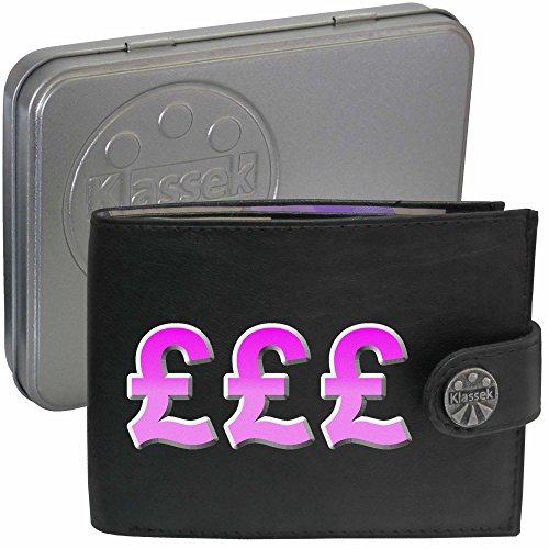 Rosa British Pound Geld zeichen Klassek Herren Geldbörse Portemonnaie Brieftasche aus echtem Leder schwarz Geschenk Präsent mit Metall Box