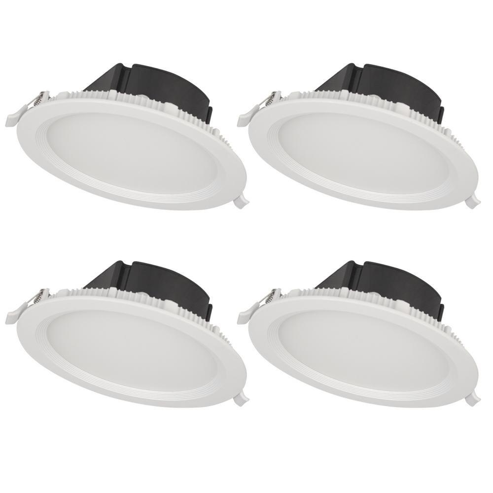 Bazz SLMTB4W4 Slim Recessed LED Light Fixture, Matte White, 4 Piece