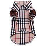 CHOLEGIFT Small Dog Puppy Shirt Clothing Cat Cotton Lapel Costume Polo Apparel - Western Plaid Dog Clothes for Pet
