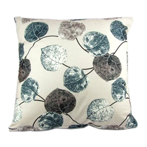 Decou Multi-colored Leaves Print Polyester Velvet-feel Throw Pillow Covers Pillowcase Sham Decor Cushion Slipcovers Square 19x19 Inch (Grey)