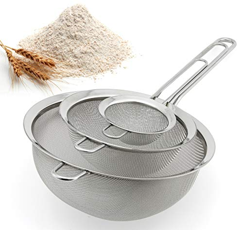 Spring Chef Premium Fine Mesh Strainers, 100% Stainless Steel, Set of 3 Kitchen Sieves ()