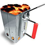 SIMPA Large Chimney Charcoal Coal Starter BBQ Coal Fire Fast Lighter Grill Quick Start Galvanised Steel Camping Fire Ignition Lighter Coal Fuel Burner Lighting Kit Square 27cm (H) x 22cm (W)