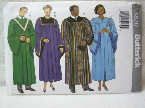 Butterick Pattern 3820 Unisex Adult Robe and Collar (XS-XL)