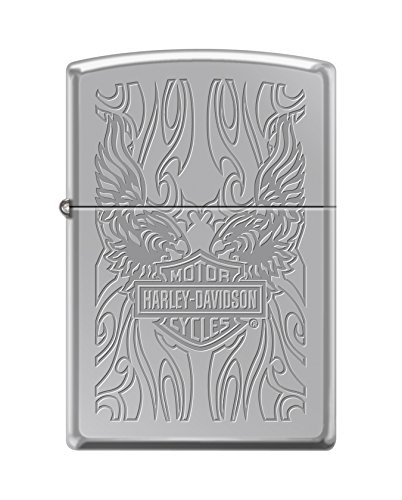 Zippo Harley-Davidson Eagle & Flames High Polish Pocket Lighter, Chrome ()