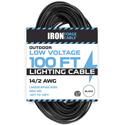 14/2 Low Voltage Landscape Wire - 100ft Outdoor Low-Voltage Cable for Landscape Lighting, Black