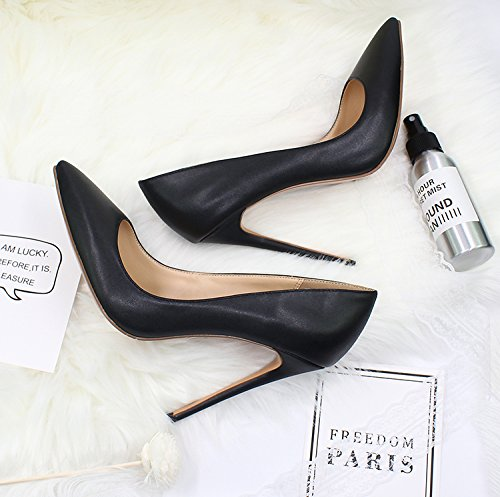 Guoar Dames Stiletto Big Size Schoenen Spitse Teen Patent Dames Solide Pumps Voor Werk Plaats Jurk Partij A-black-pu Patent