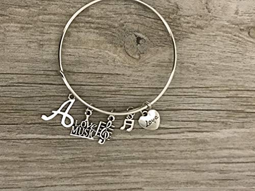 - Personalized Music Bracelet with Letter Charm - Custom Music Jewelry - Music Gift - Treble Clef Jewelry - Music Note-Music Lover Jewelry Gift