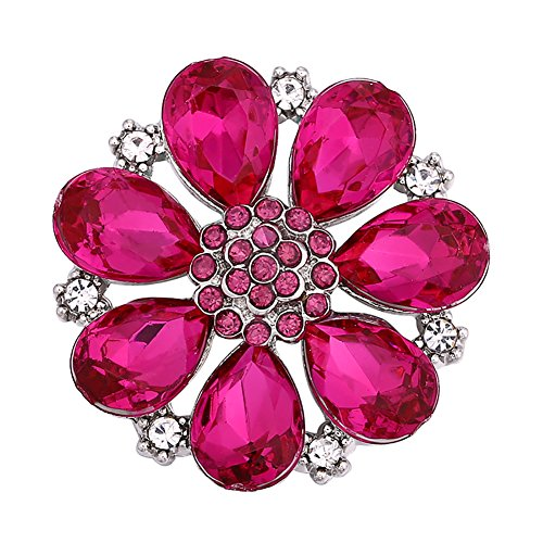 Soleebee Alloy Crystal Rhinestones 28-30mm Snap Buttons Jewelry Charms (Hot pink flower) ()