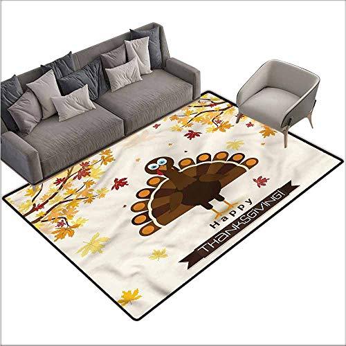 (Door Mat Living Room Non-Slip Turkey,Fall Season Animal Leaf 80